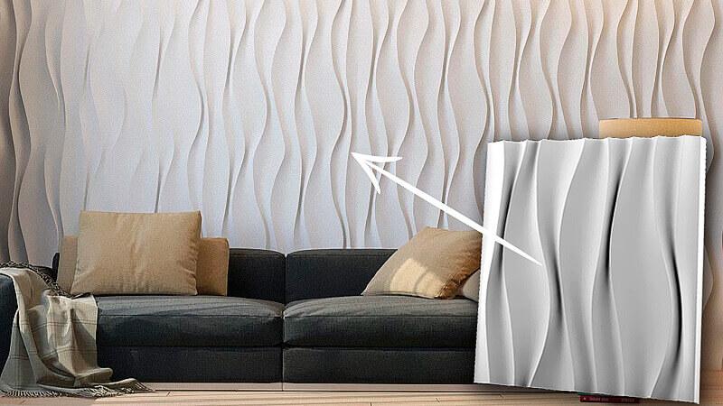 3D панели из гипса в интерьере
