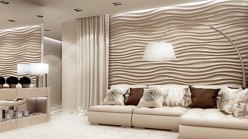 стеновые панели в интерьере гостинной