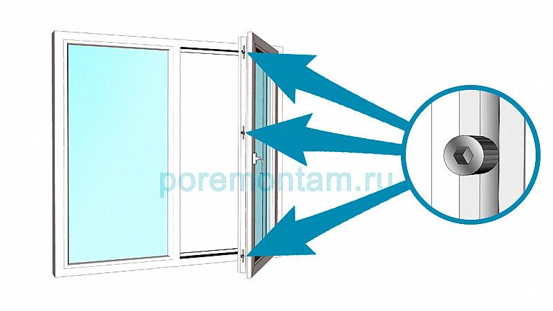 регулировка цапф на пластиковых окнах